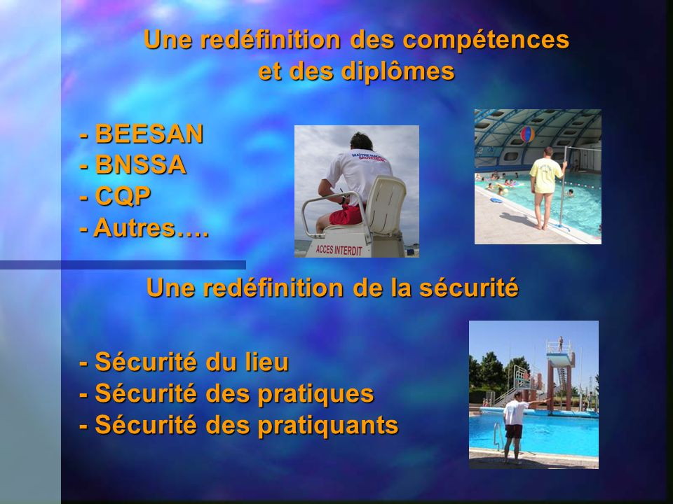Une redéfinition des compétences et des diplômes - BEESAN - BNSSA - CQP - Autres…. Une redéfinition de la sécurité - Sécurité du lieu - Sécurité des p