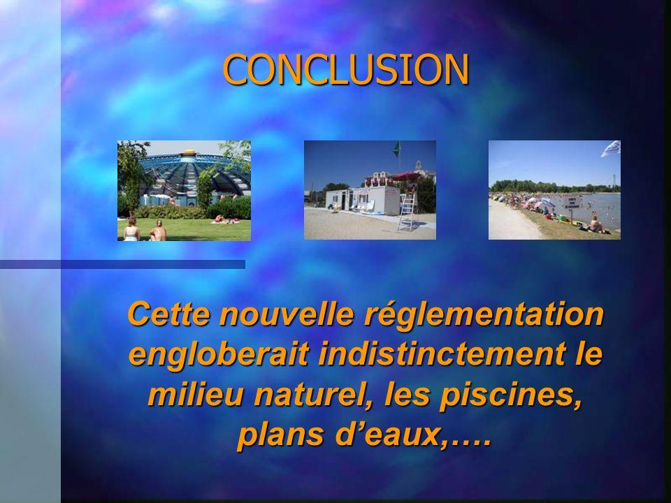 Cette nouvelle réglementation engloberait indistinctement le milieu naturel, les piscines, plans deaux,…. CONCLUSION