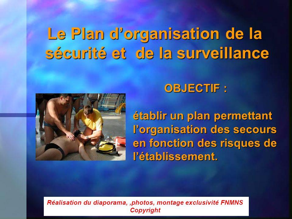 Le Plan dorganisation de la sécurité et de la surveillance OBJECTIF : OBJECTIF : établir un plan permettant lorganisation des secours en fonction des