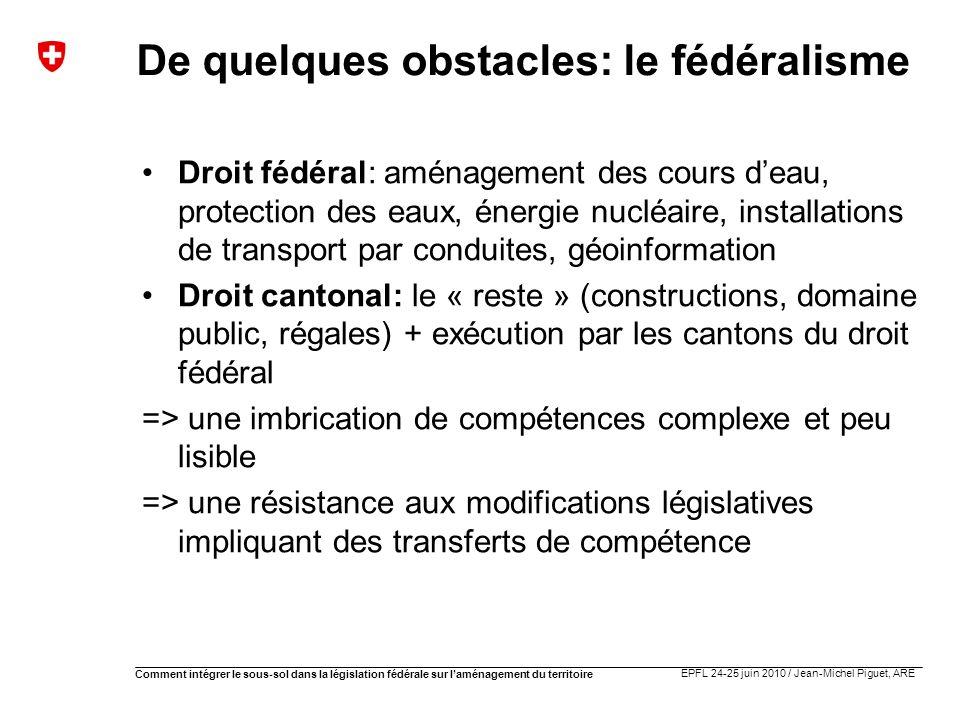 EPFL 24-25 juin 2010 / Jean-Michel Piguet, ARE Comment intégrer le sous-sol dans la législation fédérale sur laménagement du territoire De quelques ob