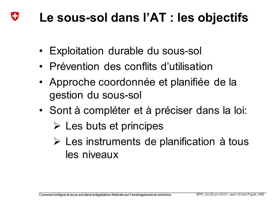 EPFL 24-25 juin 2010 / Jean-Michel Piguet, ARE Comment intégrer le sous-sol dans la législation fédérale sur laménagement du territoire Le sous-sol da