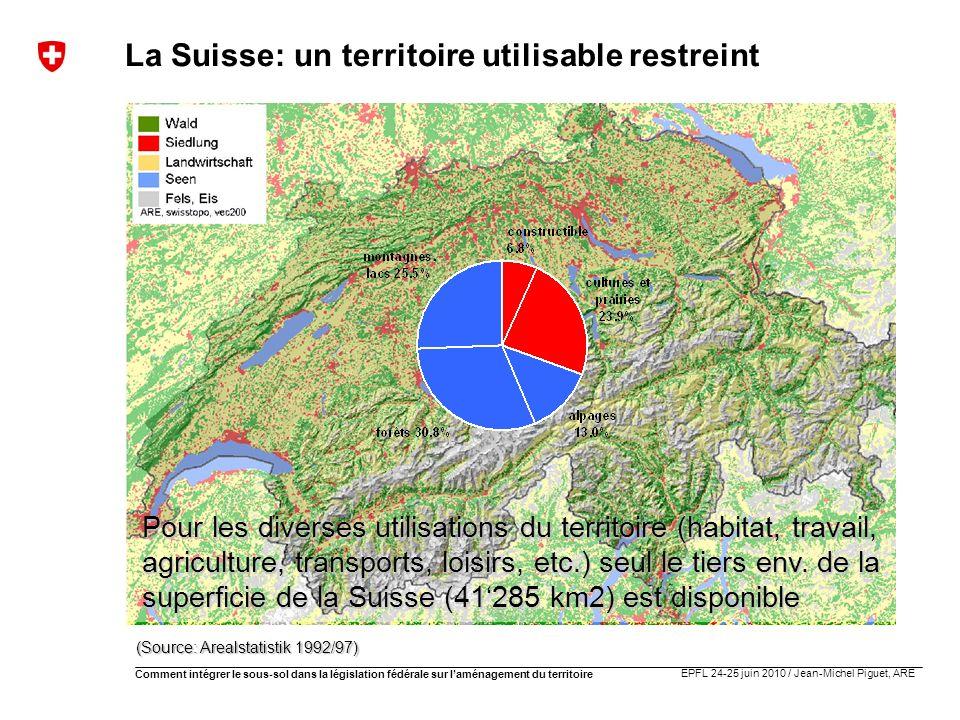 EPFL 24-25 juin 2010 / Jean-Michel Piguet, ARE Comment intégrer le sous-sol dans la législation fédérale sur laménagement du territoire La Suisse: un