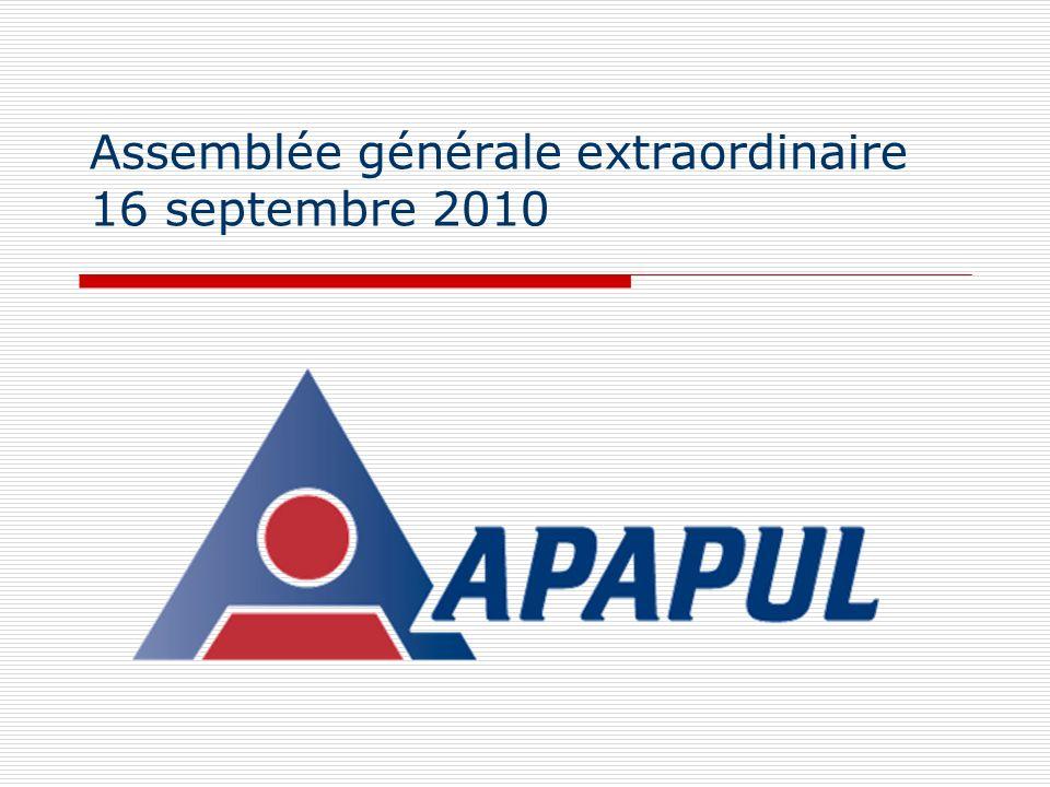 Assemblée générale extraordinaire 16 septembre 2010