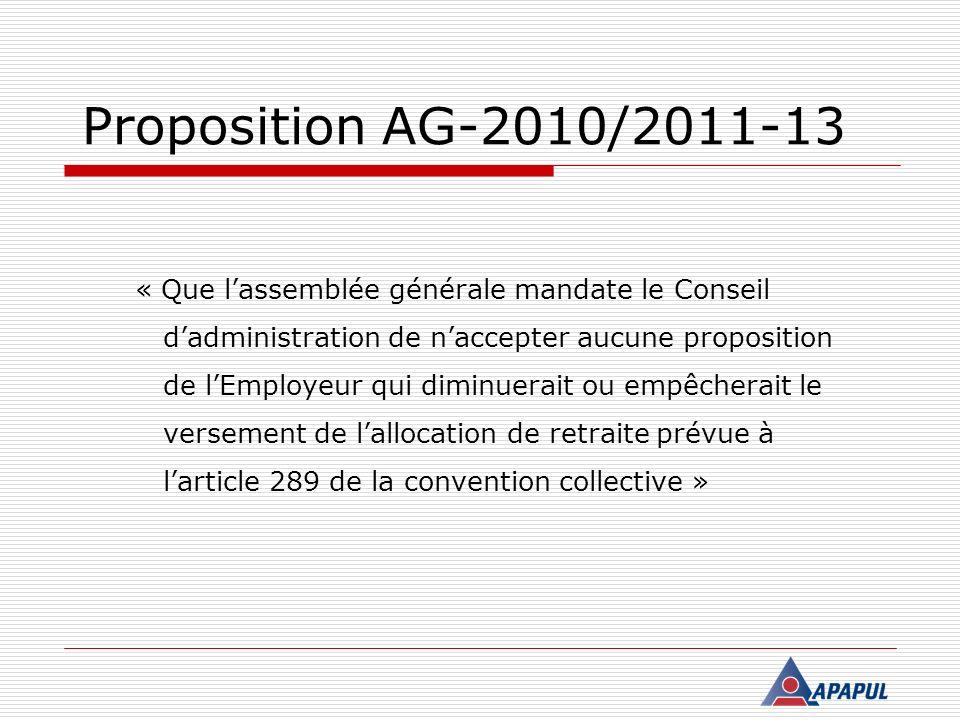 Proposition AG-2010/2011-13 « Que lassemblée générale mandate le Conseil dadministration de naccepter aucune proposition de lEmployeur qui diminuerait