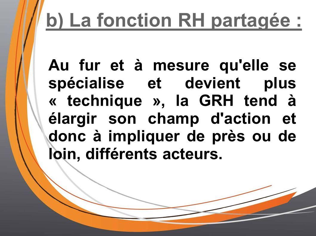 b) La fonction RH partagée : Au fur et à mesure qu'elle se spécialise et devient plus « technique », la GRH tend à élargir son champ d'action et donc