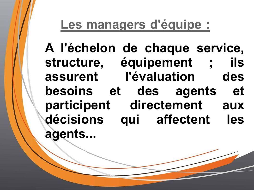 Les managers d'équipe : A l'échelon de chaque service, structure, équipement ; ils assurent l'évaluation des besoins et des agents et participent dire