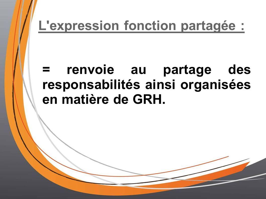 L'expression fonction partagée : = renvoie au partage des responsabilités ainsi organisées en matière de GRH.