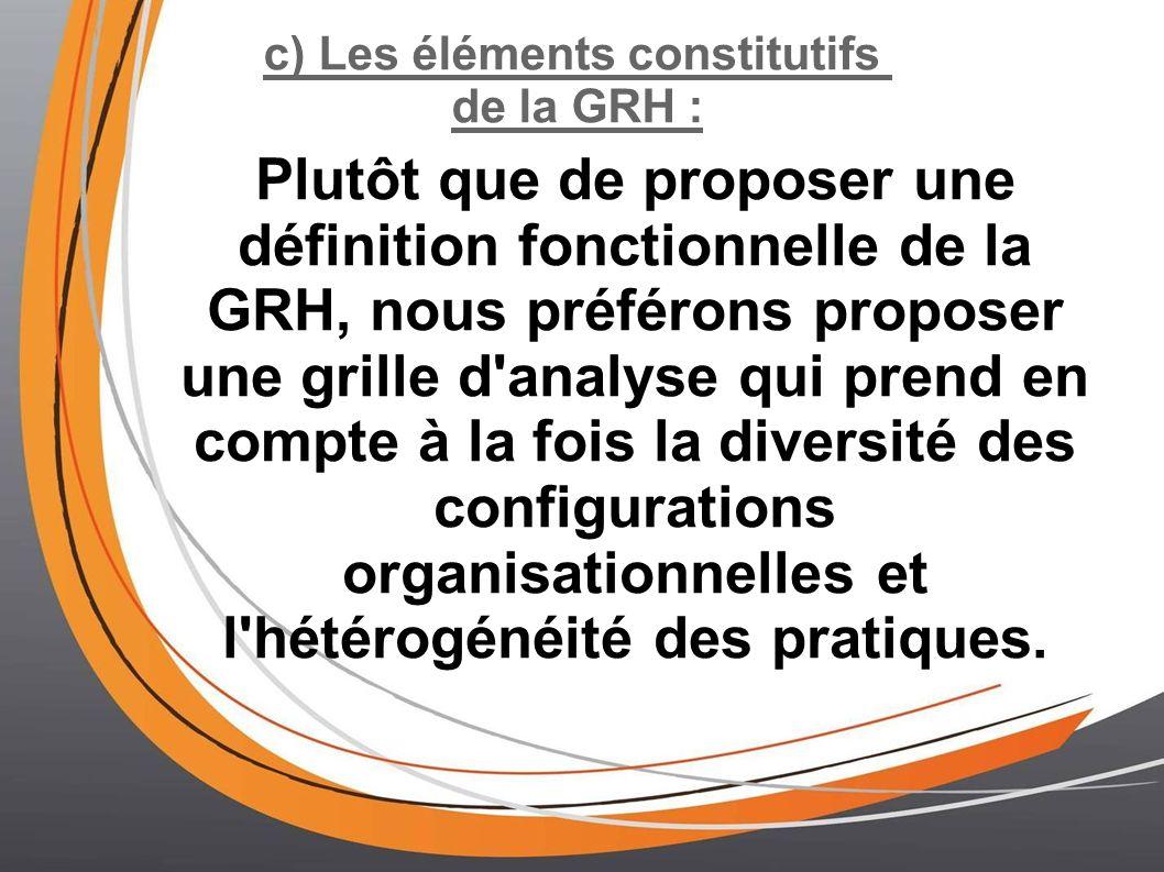 c) Les éléments constitutifs de la GRH : Plutôt que de proposer une définition fonctionnelle de la GRH, nous préférons proposer une grille d analyse qui prend en compte à la fois la diversité des configurations organisationnelles et l hétérogénéité des pratiques.