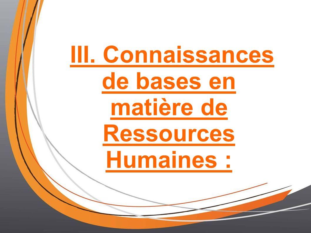 III. Connaissances de bases en matière de Ressources Humaines :