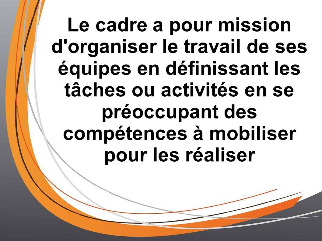 Le cadre a pour mission d'organiser le travail de ses équipes en définissant les tâches ou activités en se préoccupant des compétences à mobiliser pou