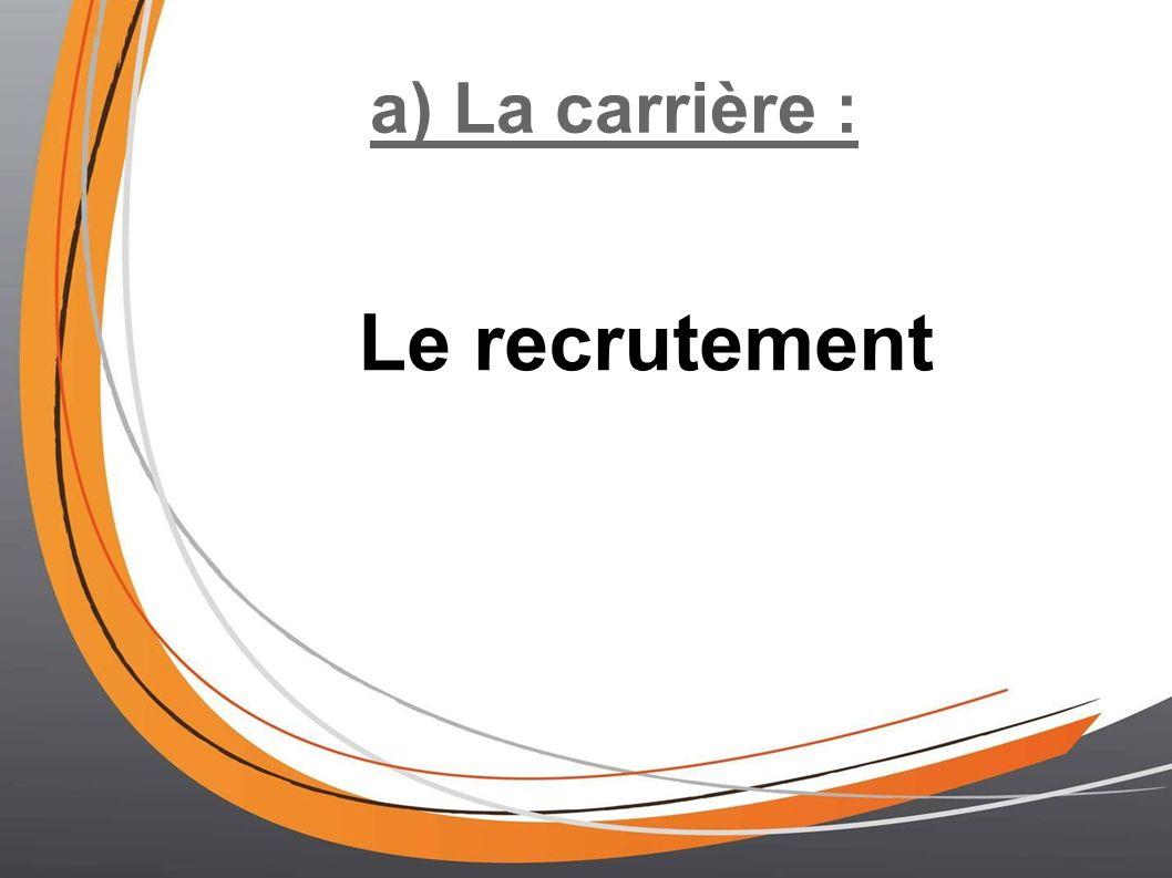 a) La carrière : Le recrutement