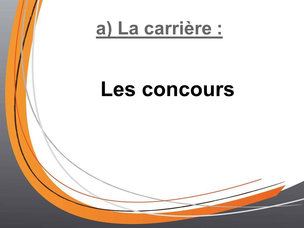 a) La carrière : Les concours