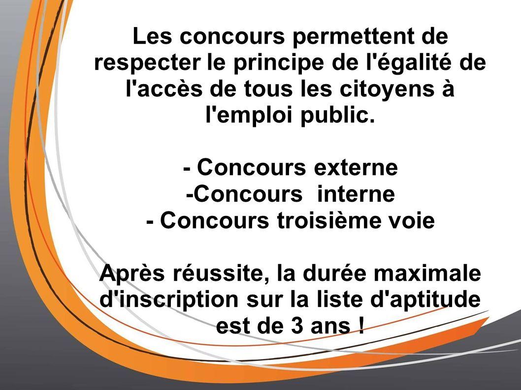 Les concours permettent de respecter le principe de l'égalité de l'accès de tous les citoyens à l'emploi public. - Concours externe -Concours interne