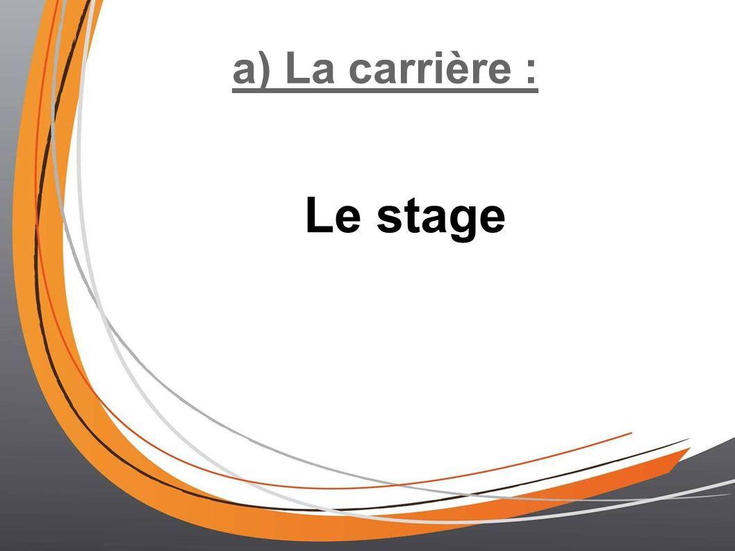 a) La carrière : Le stage