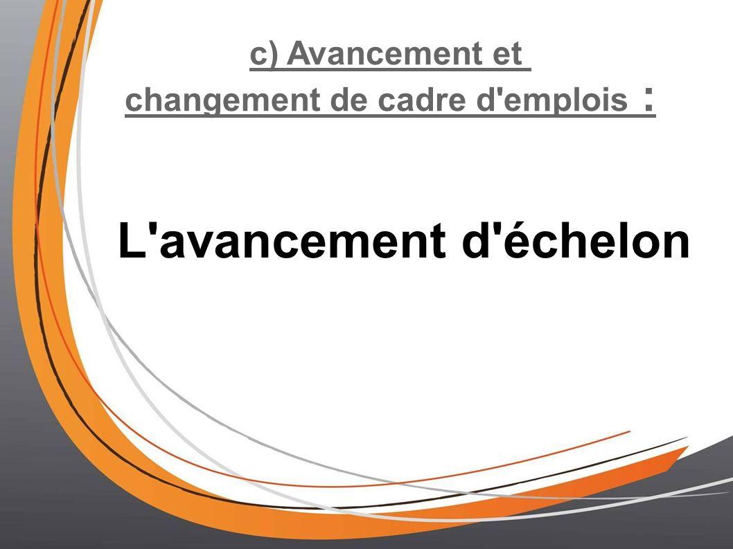 c) Avancement et changement de cadre d emplois : L avancement d échelon