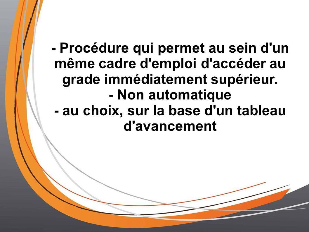 - Procédure qui permet au sein d'un même cadre d'emploi d'accéder au grade immédiatement supérieur. - Non automatique - au choix, sur la base d'un tab