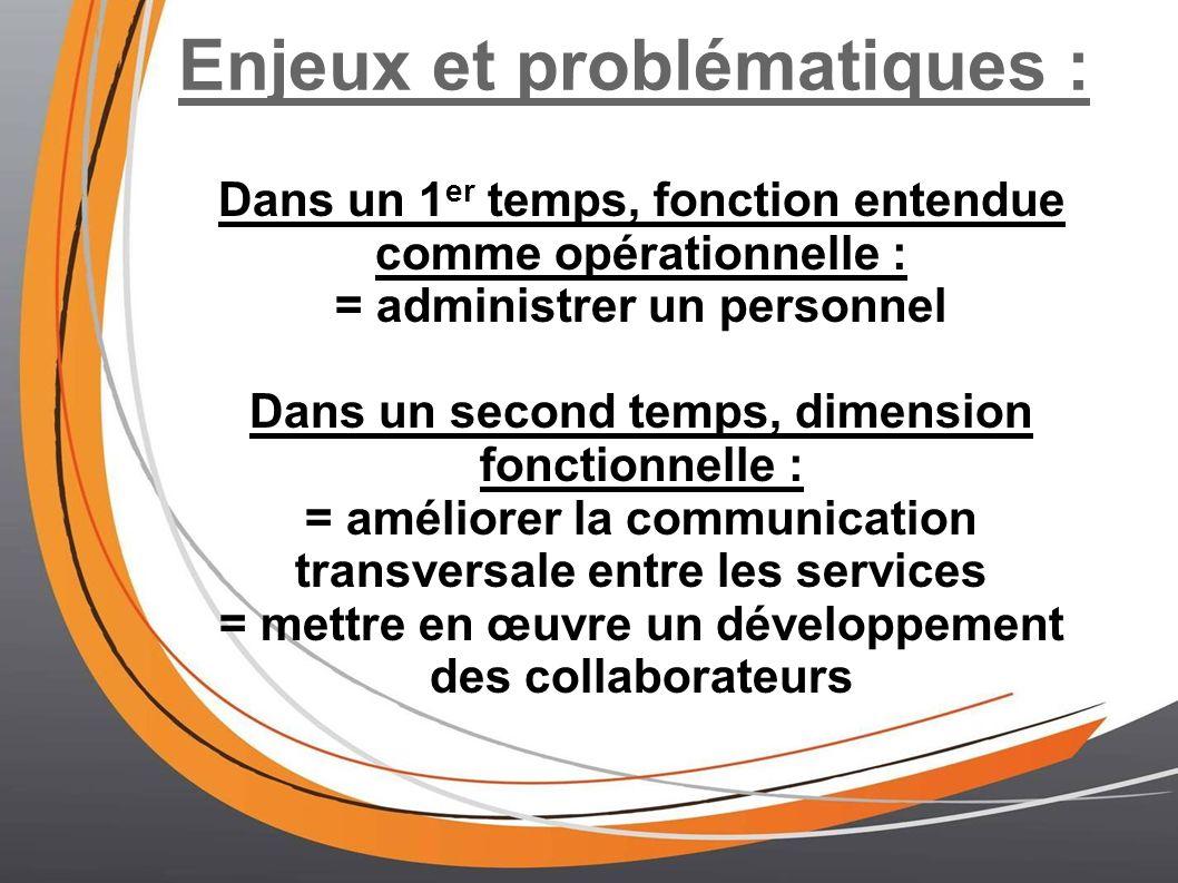 Enjeux et problématiques : Dans un 1 er temps, fonction entendue comme opérationnelle : = administrer un personnel Dans un second temps, dimension fon