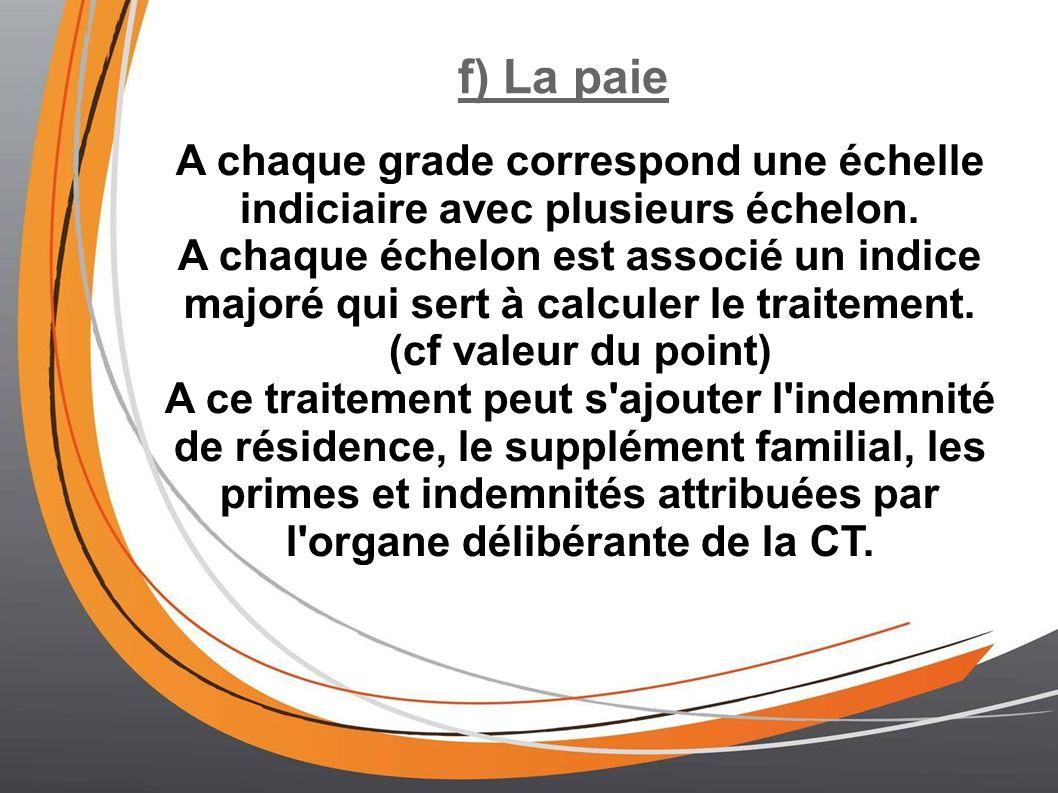 f) La paie A chaque grade correspond une échelle indiciaire avec plusieurs échelon.