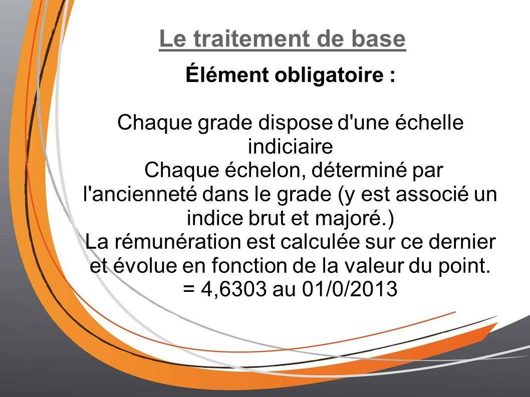 Le traitement de base Élément obligatoire : Chaque grade dispose d'une échelle indiciaire Chaque échelon, déterminé par l'ancienneté dans le grade (y
