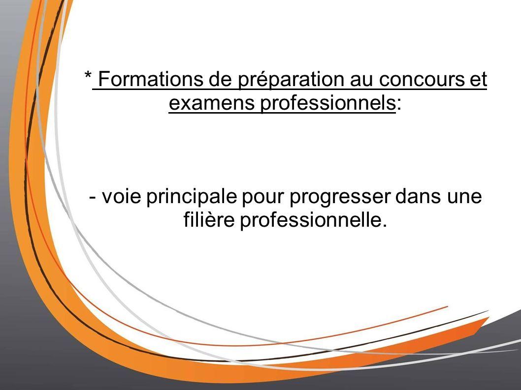 * Formations de préparation au concours et examens professionnels: - voie principale pour progresser dans une filière professionnelle.