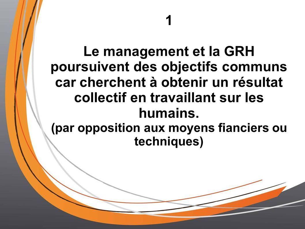 1 Le management et la GRH poursuivent des objectifs communs car cherchent à obtenir un résultat collectif en travaillant sur les humains. (par opposit