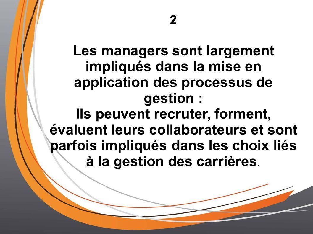 2 Les managers sont largement impliqués dans la mise en application des processus de gestion : Ils peuvent recruter, forment, évaluent leurs collaborateurs et sont parfois impliqués dans les choix liés à la gestion des carrières.