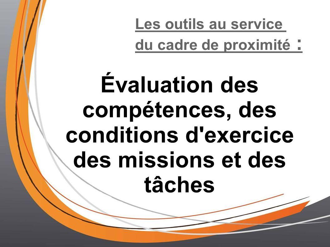 Les outils au service du cadre de proximité : Évaluation des compétences, des conditions d'exercice des missions et des tâches