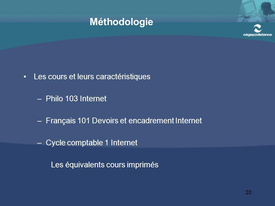 20 Méthodologie Les cours et leurs caractéristiques –Philo 103 Internet –Français 101 Devoirs et encadrement Internet –Cycle comptable 1 Internet Les équivalents cours imprimés
