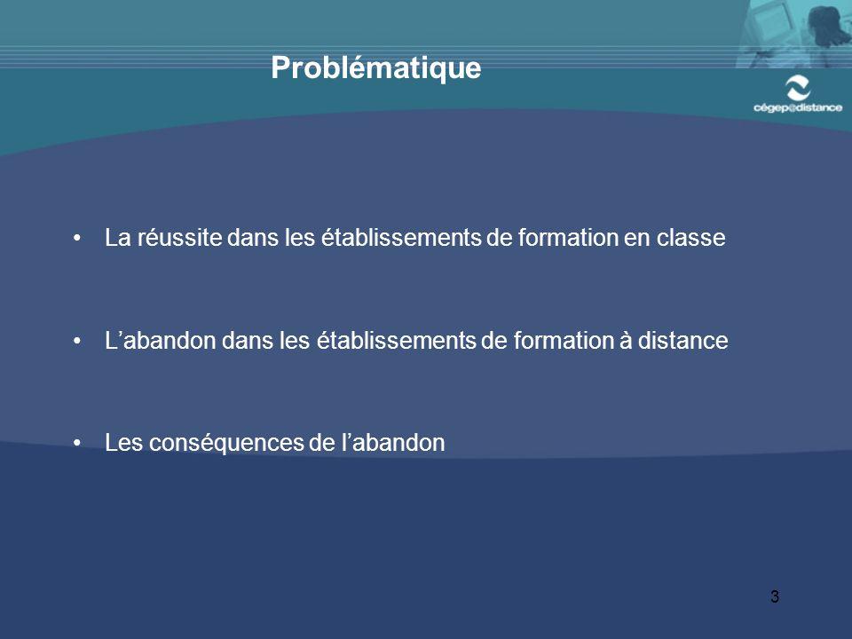 3 Problématique La réussite dans les établissements de formation en classe Labandon dans les établissements de formation à distance Les conséquences de labandon