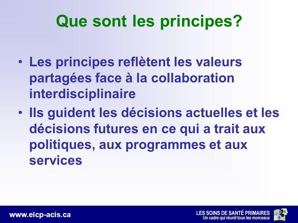 www.eicp-acis.ca Que sont les principes? Les principes reflètent les valeurs partagées face à la collaboration interdisciplinaire Ils guident les déci