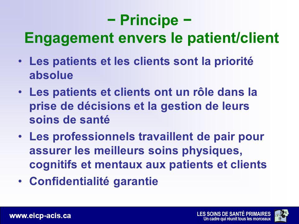 www.eicp-acis.ca Principe Engagement envers le patient/client Les patients et les clients sont la priorité absolue Les patients et clients ont un rôle