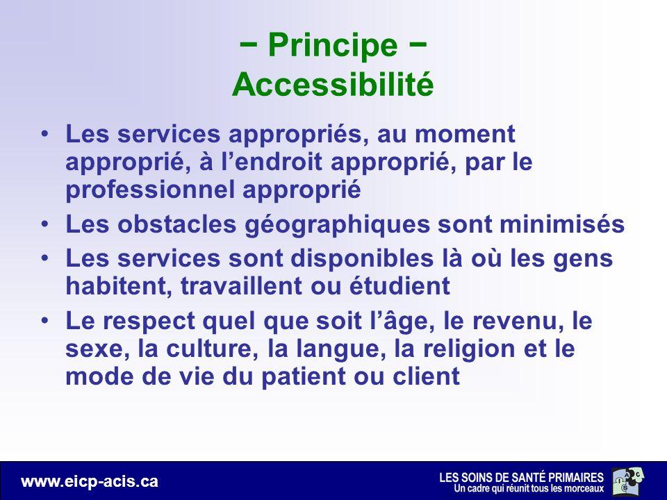 www.eicp-acis.ca Principe Accessibilité Les services appropriés, au moment approprié, à lendroit approprié, par le professionnel approprié Les obstacl