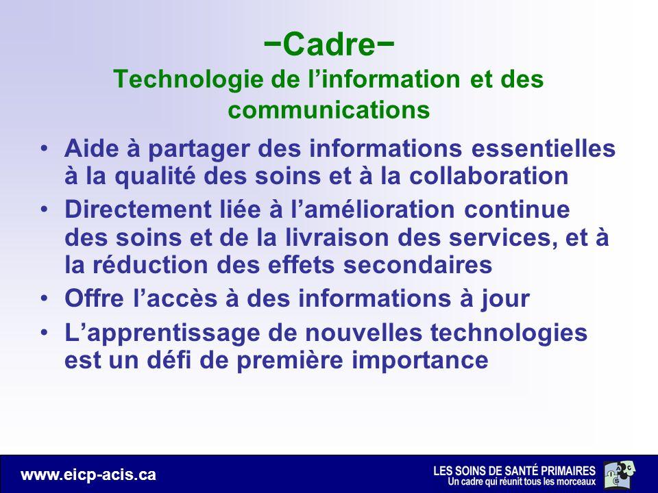 www.eicp-acis.ca Cadre Technologie de linformation et des communications Aide à partager des informations essentielles à la qualité des soins et à la