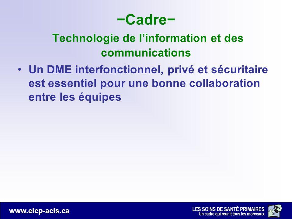 www.eicp-acis.ca Cadre Technologie de linformation et des communications Un DME interfonctionnel, privé et sécuritaire est essentiel pour une bonne co