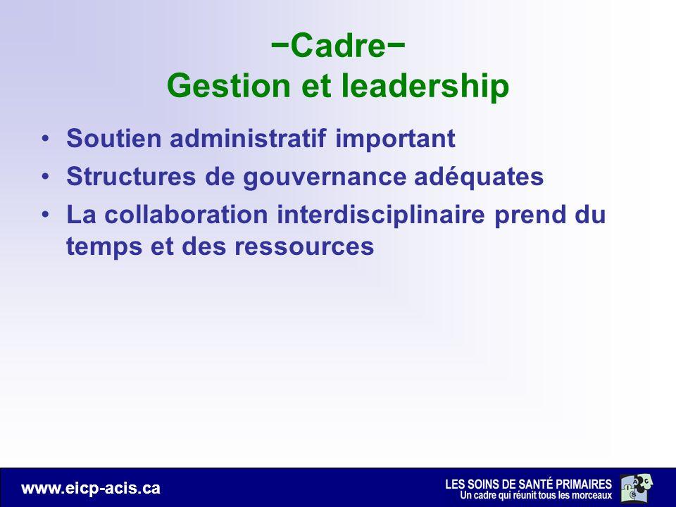 www.eicp-acis.ca Cadre Gestion et leadership Soutien administratif important Structures de gouvernance adéquates La collaboration interdisciplinaire p