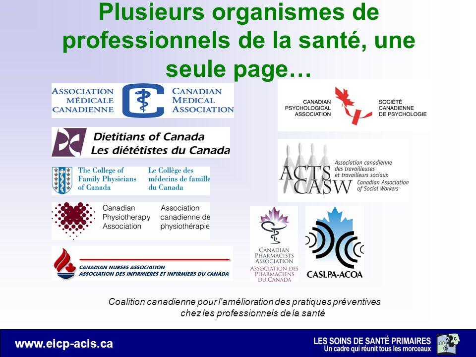 www.eicp-acis.ca Coalition canadienne pour l'amélioration des pratiques préventives chez les professionnels de la santé Plusieurs organismes de profes