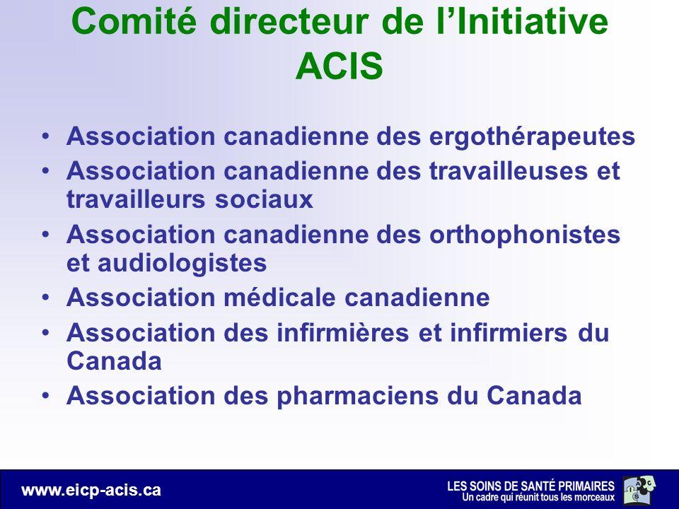 www.eicp-acis.ca Comité directeur de lInitiative ACIS Association canadienne des ergothérapeutes Association canadienne des travailleuses et travaille