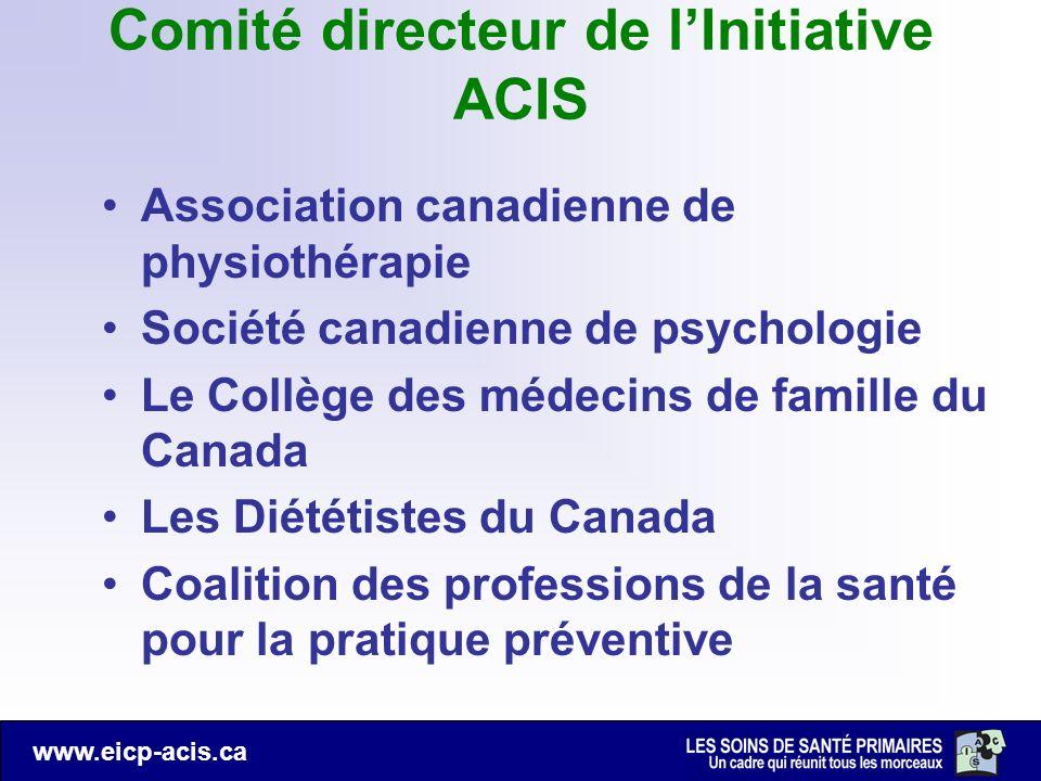 www.eicp-acis.ca Comité directeur de lInitiative ACIS Association canadienne de physiothérapie Société canadienne de psychologie Le Collège des médeci
