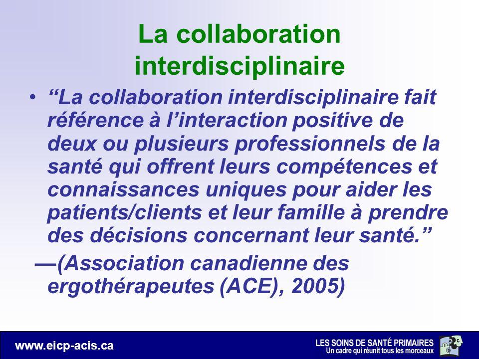www.eicp-acis.ca La collaboration interdisciplinaire La collaboration interdisciplinaire fait référence à linteraction positive de deux ou plusieurs p