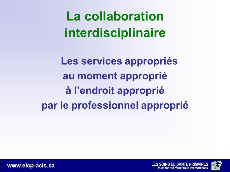www.eicp-acis.ca La collaboration interdisciplinaire Les services appropriés au moment approprié à lendroit approprié par le professionnel approprié