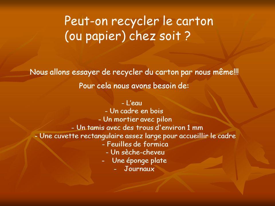 Peut-on recycler le carton (ou papier) chez soit ? Nous allons essayer de recycler du carton par nous même!!! Pour cela nous avons besoin de: - Leau -