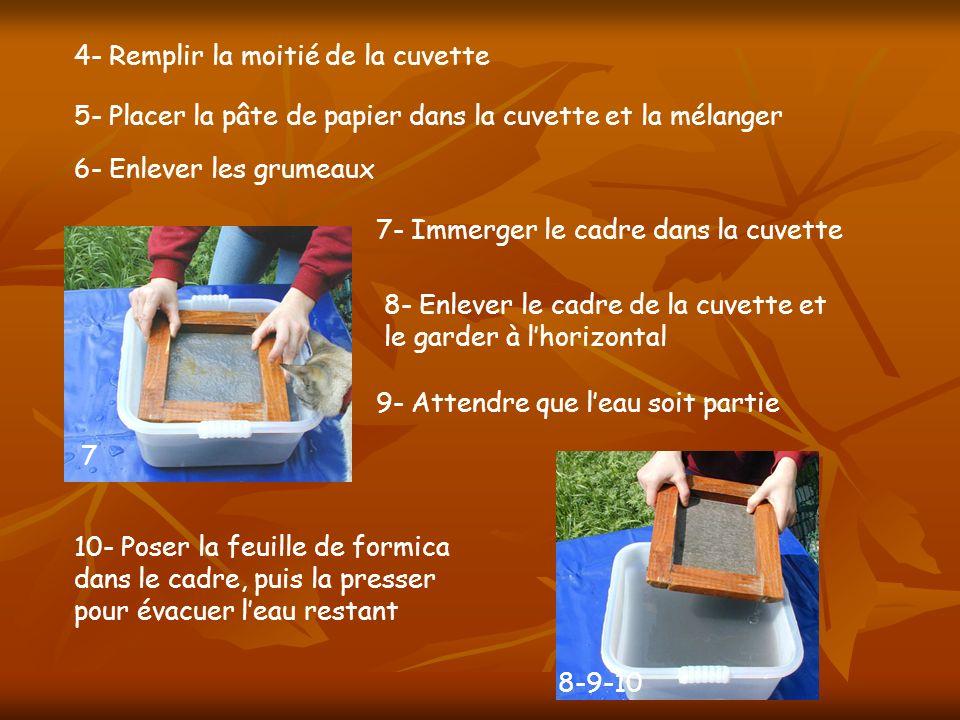 4- Remplir la moitié de la cuvette 10- Poser la feuille de formica dans le cadre, puis la presser pour évacuer leau restant 7- Immerger le cadre dans