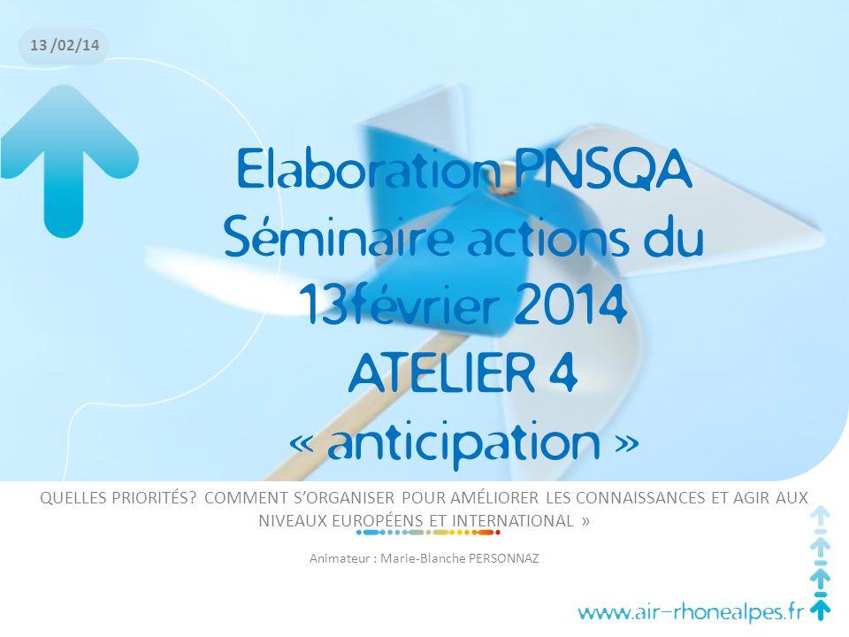 www.air-rhonealpes.fr Elaboration PNSQA Séminaire actions du 13février 2014 ATELIER 4 « anticipation » QUELLES PRIORITÉS? COMMENT SORGANISER POUR AMÉL