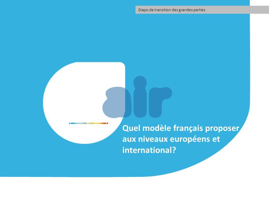 air Quel modèle français proposer aux niveaux européens et international? Diapo de transition des grandes parties