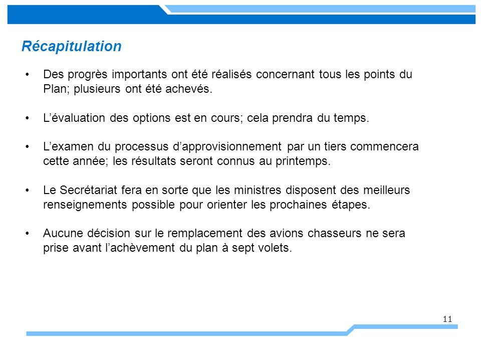 Récapitulation 11 Des progrès importants ont été réalisés concernant tous les points du Plan; plusieurs ont été achevés.