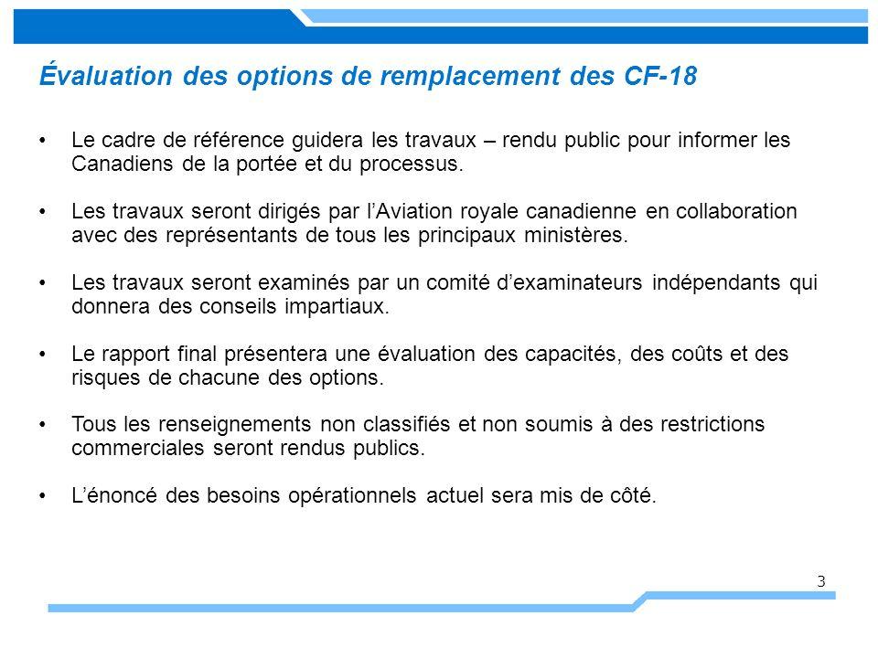 Évaluation des options de remplacement des CF-18 Le cadre de référence guidera les travaux – rendu public pour informer les Canadiens de la portée et du processus.