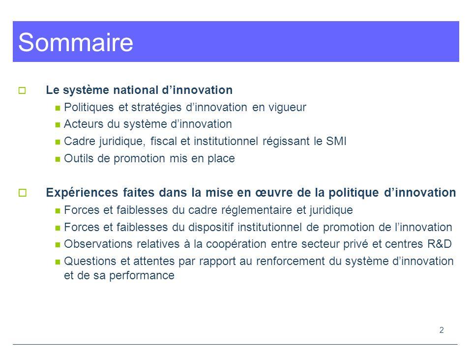 23 La R&D et linnovation dans les entreprises marocaines : état des lieux Linnovation et de la recherche – développement leviers stratégiques pour lamélioration permanente de la compétitivité éléments clés de la garantie de sa pérennité.