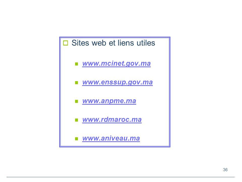 36 Sites web et liens utiles www.mcinet.gov.ma www.enssup.gov.ma www.anpme.ma www.rdmaroc.ma www.aniveau.ma
