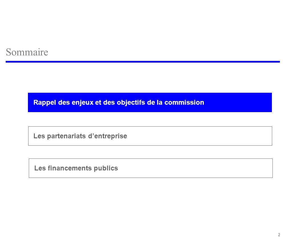 2 Sommaire Rappel des enjeux et des objectifs de la commission Les financements publics Les partenariats dentreprise