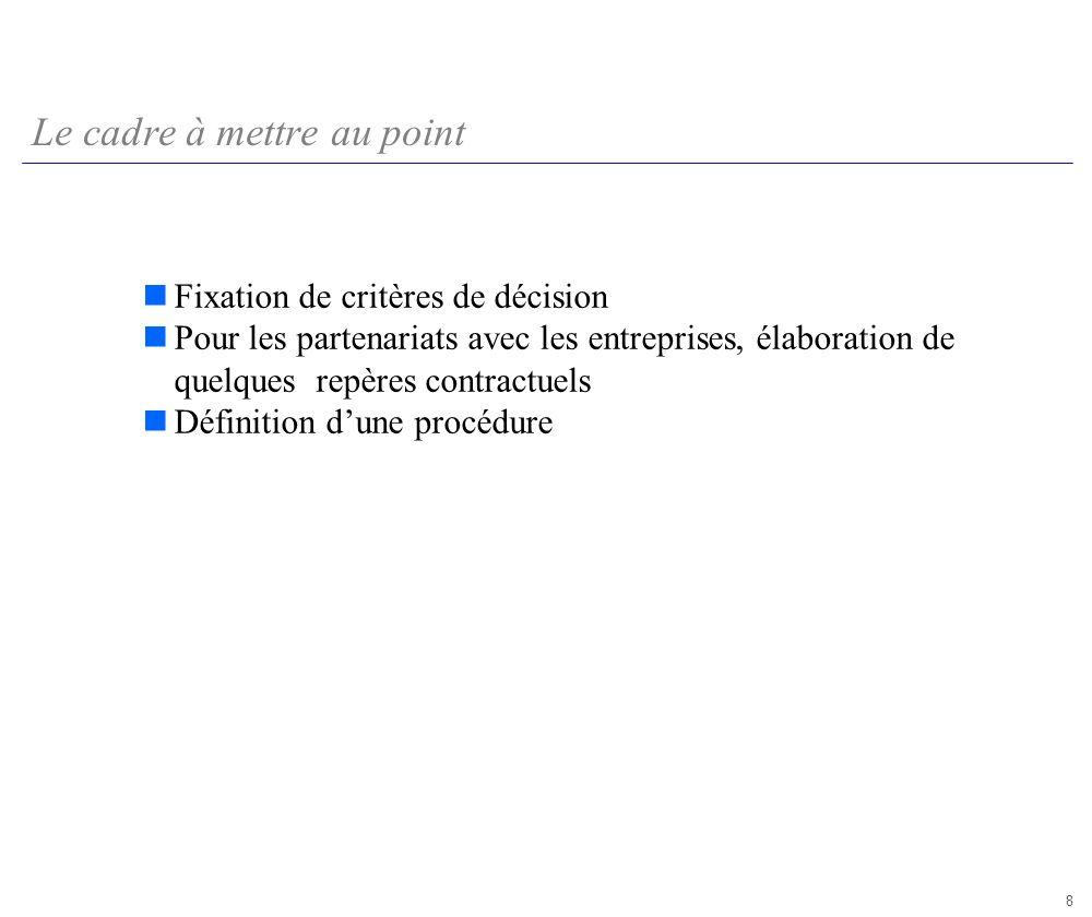 8 Le cadre à mettre au point Fixation de critères de décision Pour les partenariats avec les entreprises, élaboration de quelques repères contractuels Définition dune procédure